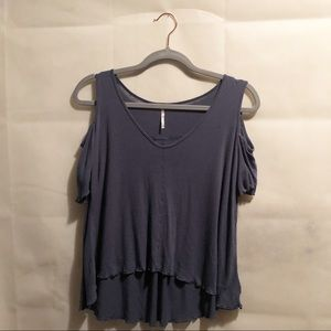 Free People Cold Shoulder Top Dusty Blue Size XS